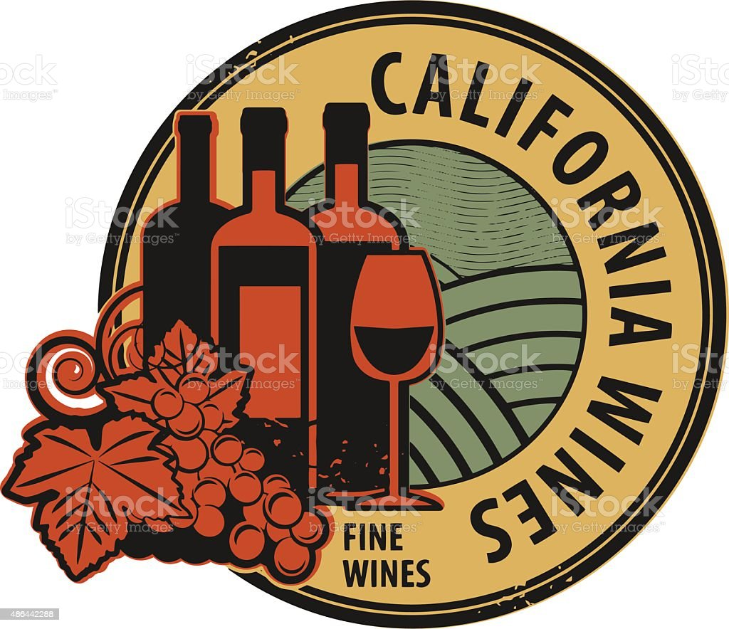 Stamp with words California, Fine Wines vector art illustration