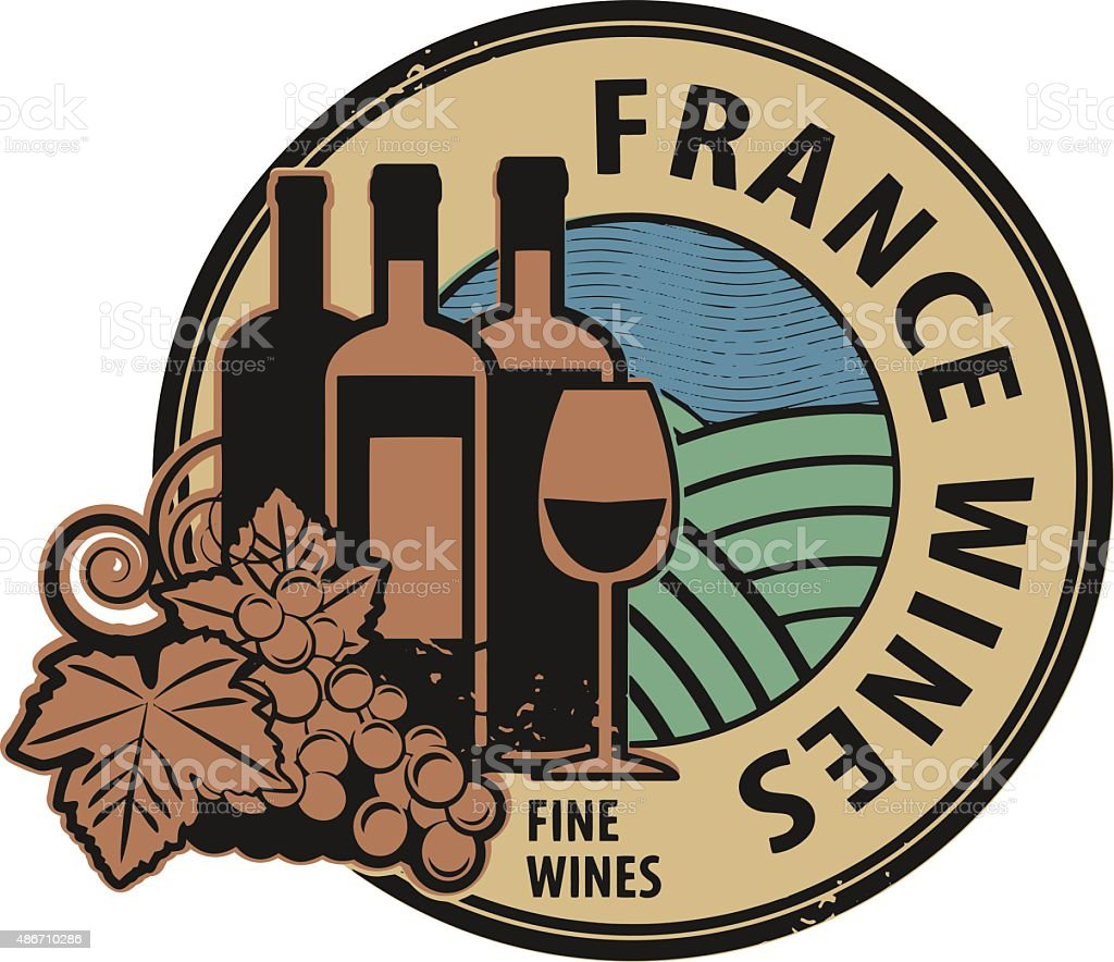 Stamp with words France, Fine Wines vector art illustration