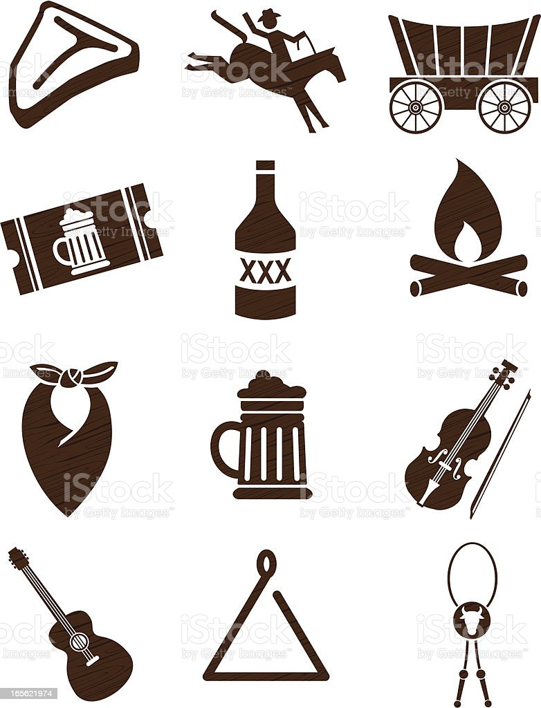 Stampede Party Icons in Woodgrain vector art illustration