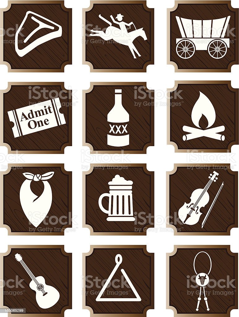 Stampede Party Icons vector art illustration