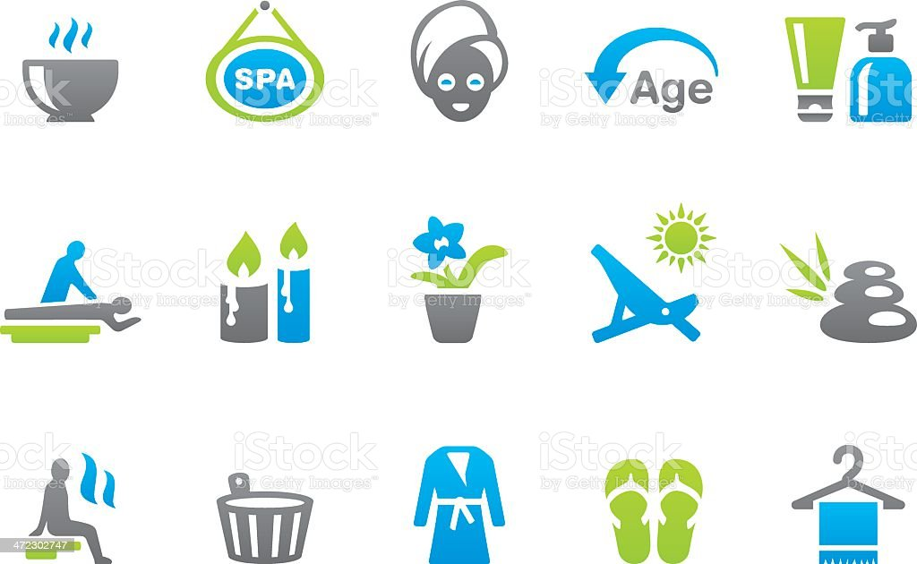 Stampico icons - Beauty and Spa vector art illustration
