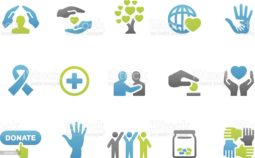 Stampico icons - Charity and Relief Work vector art illustration