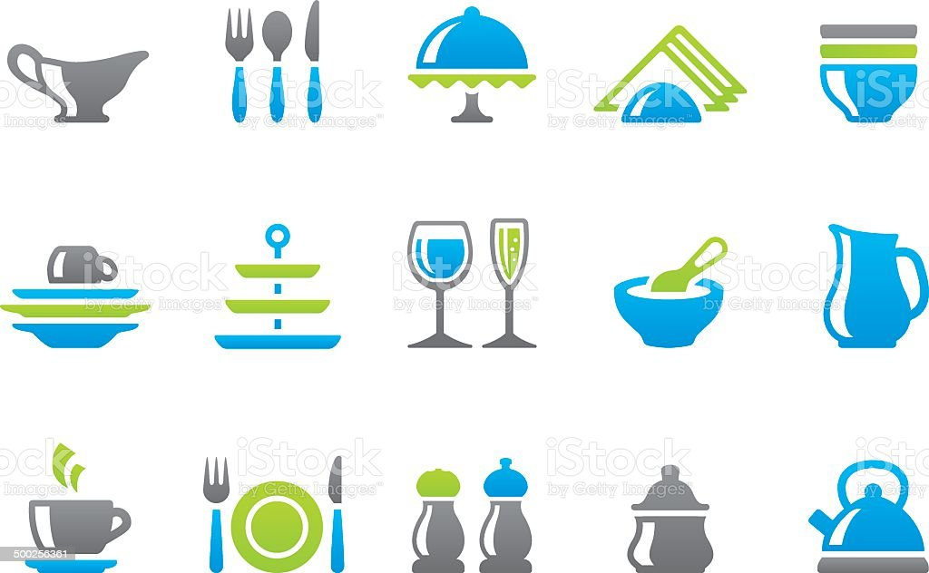 Stampico icons - Dishware vector art illustration