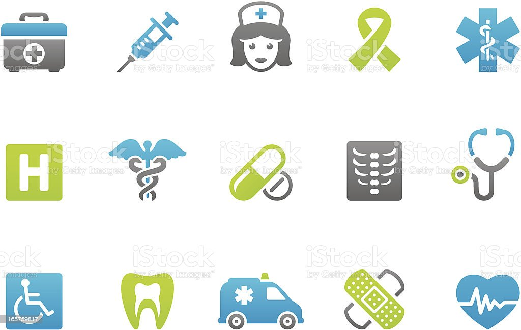 Stampico icons - Healthcare and Medicine vector art illustration