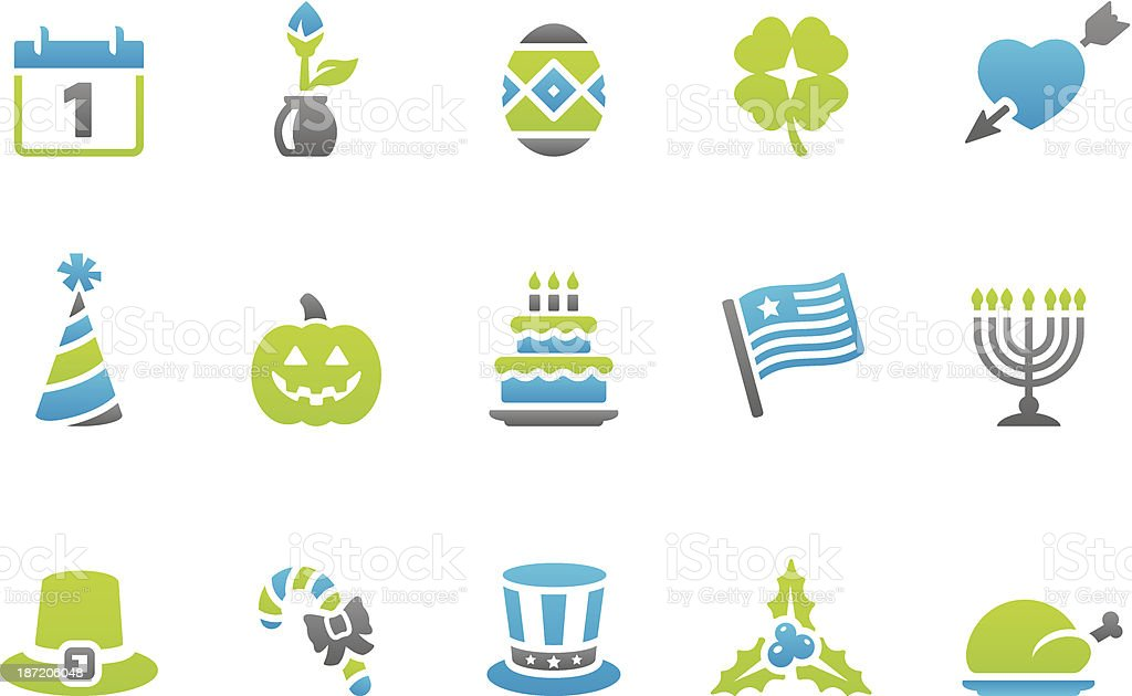 Stampico icons - Holidays and Celebrations vector art illustration