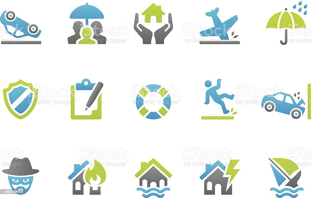 Stampico icons - Insurance vector art illustration