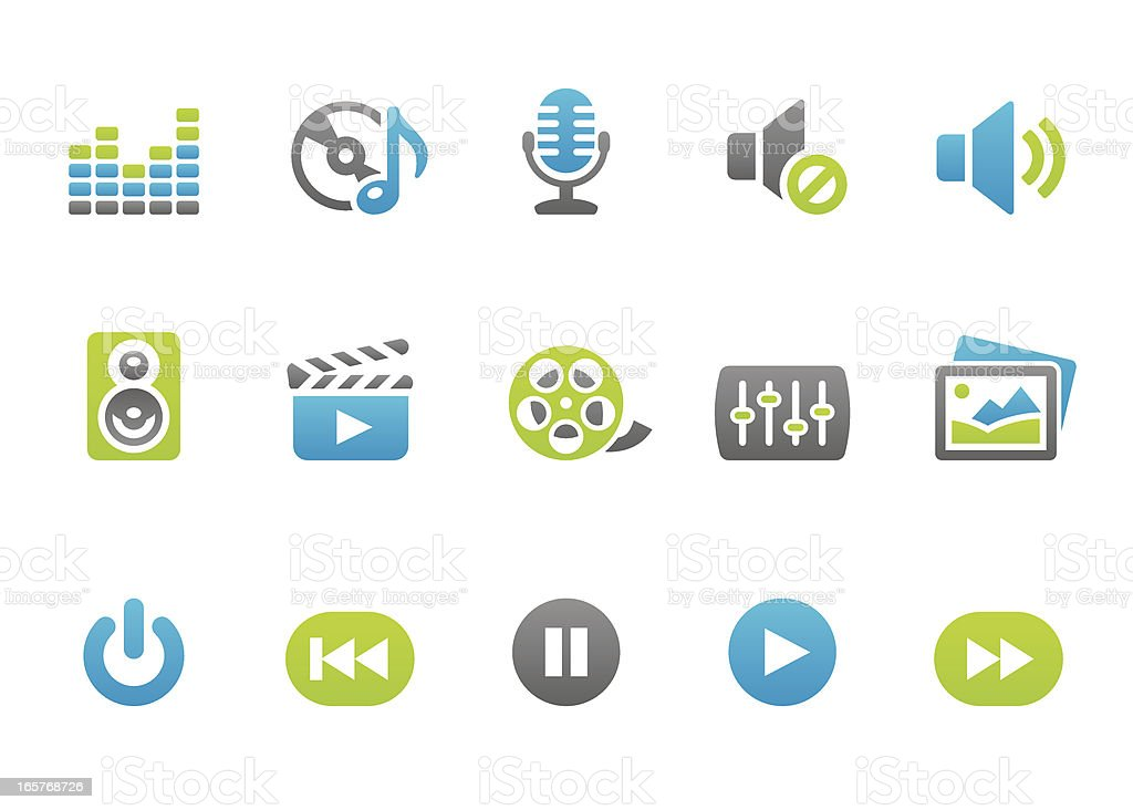 Stampico icons - Multimedia vector art illustration