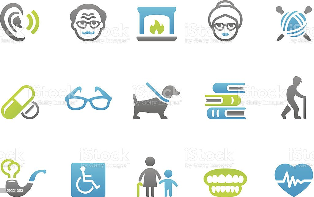 Stampico icons - Senior Adult royalty-free stock vector art