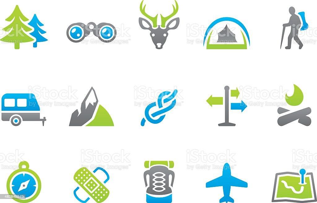 Stampico icons - Summer Camp vector art illustration