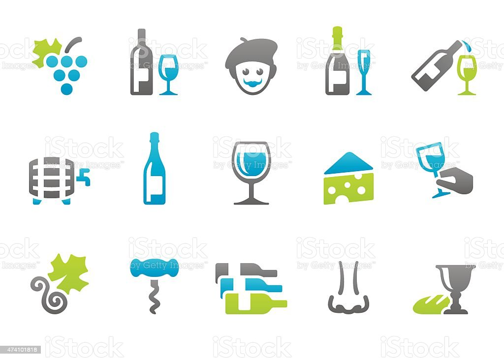 Stampico icons - Wine vector art illustration