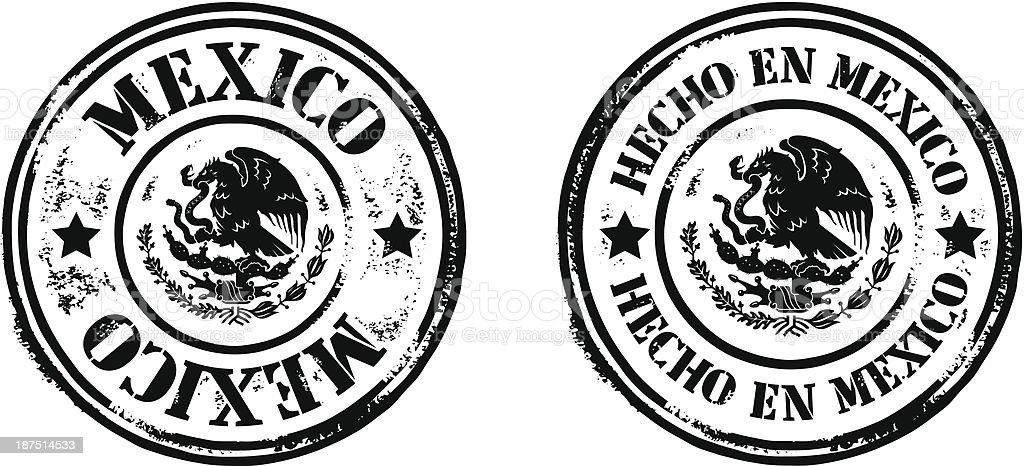 Stamps - Hecho En Mexico royalty-free stock vector art