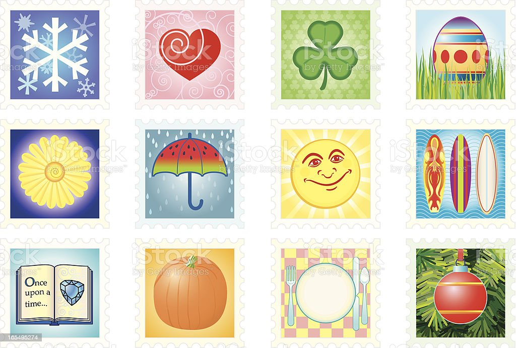 Stamps of the Months royalty-free stock vector art