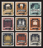 stamps on beer and brewery