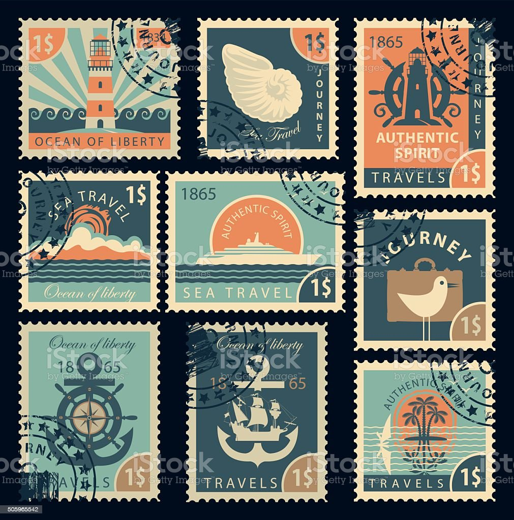 stamps on the theme of travel by sea vector art illustration