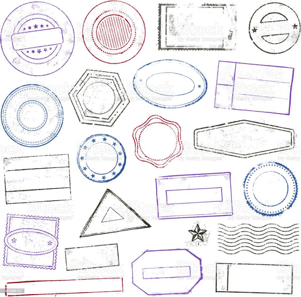 Stamps set vector art illustration
