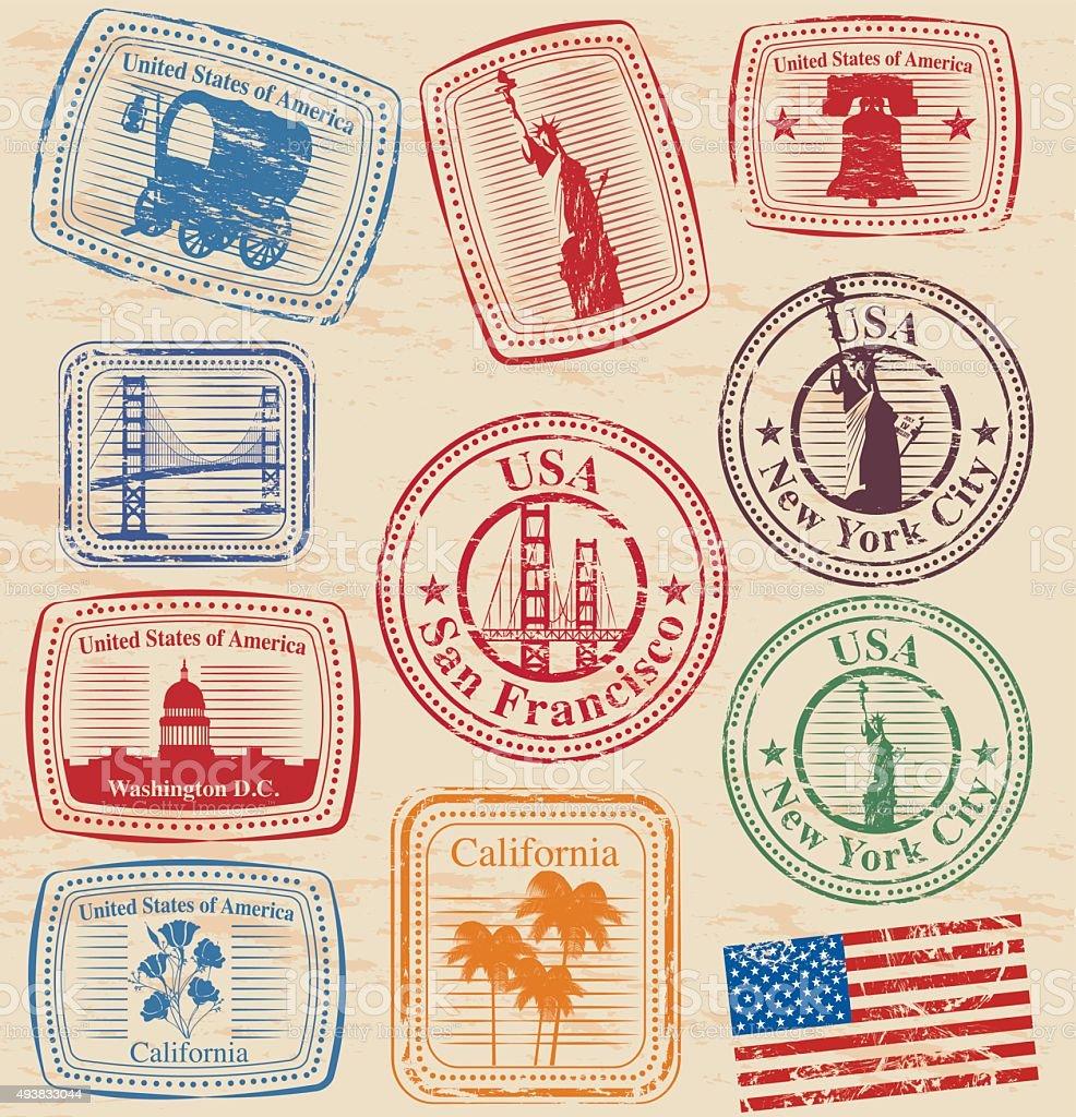 USA Stamps vector art illustration