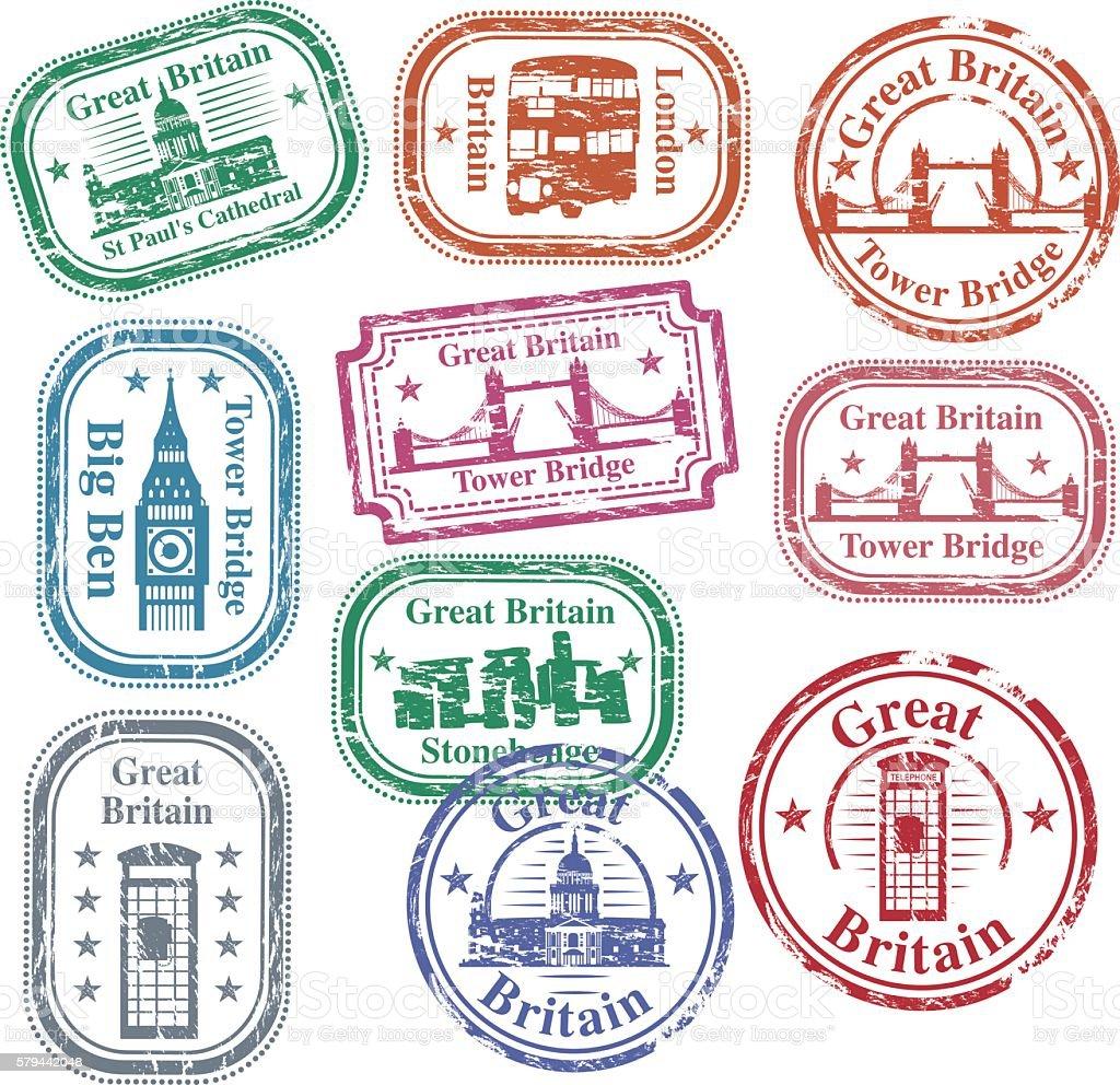 UK Stamps vector art illustration