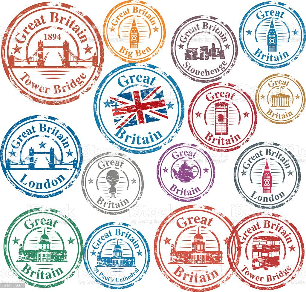 UK Stamps vector art illustration