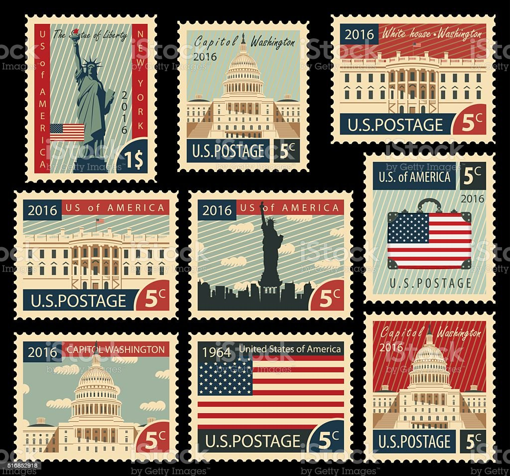 stamps with United States of America landmarks vector art illustration