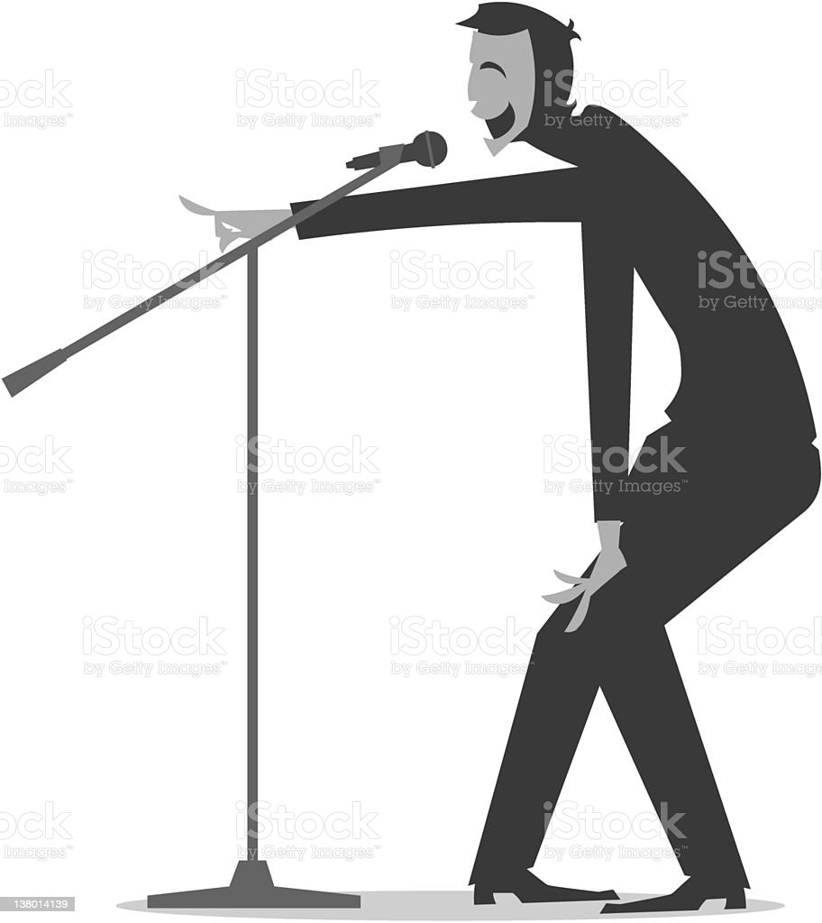 Stand Up Comedian with a mic royalty-free stock vector art