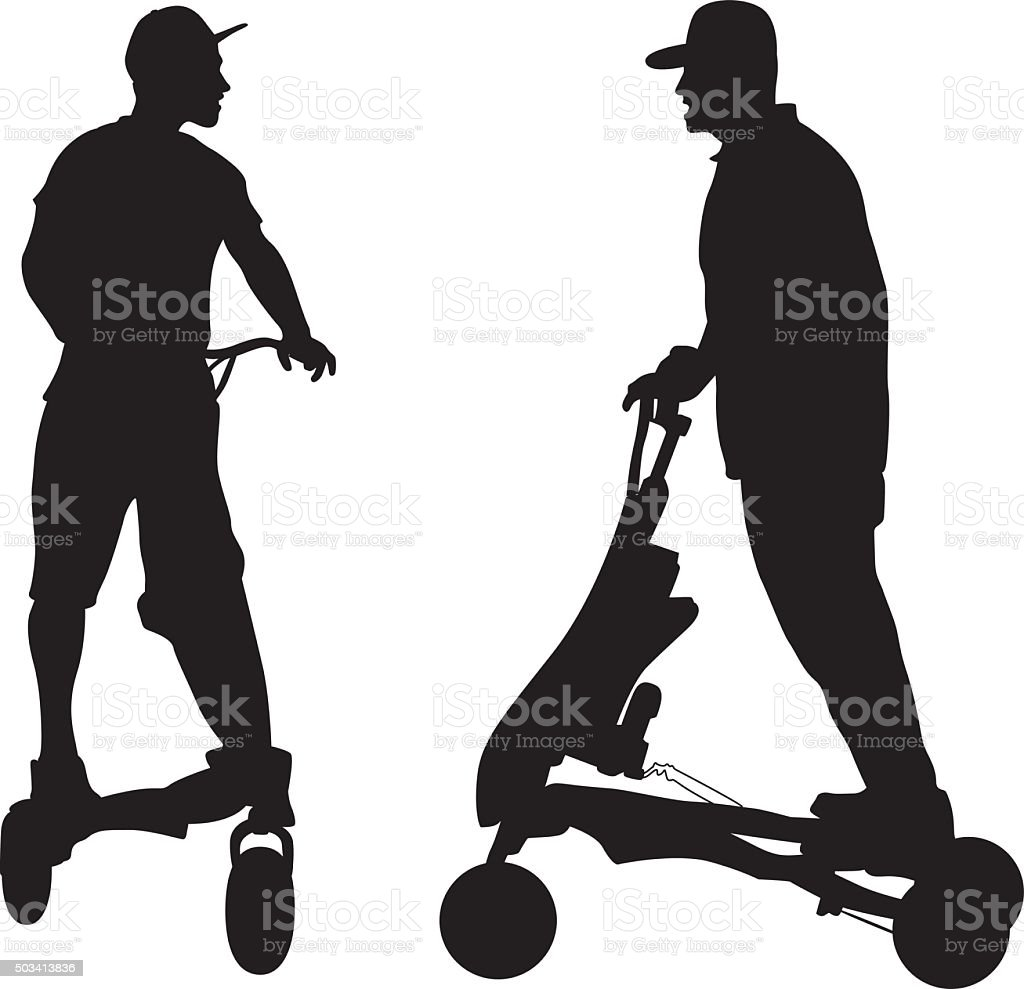 Stand Up Motorized Scooter vector art illustration