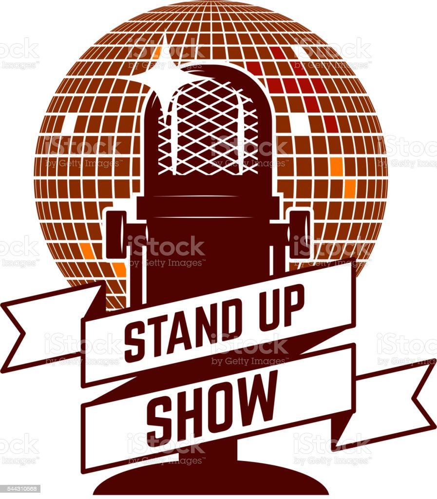 Stand up show emblem template. Design element for poster, flyer, vector art illustration