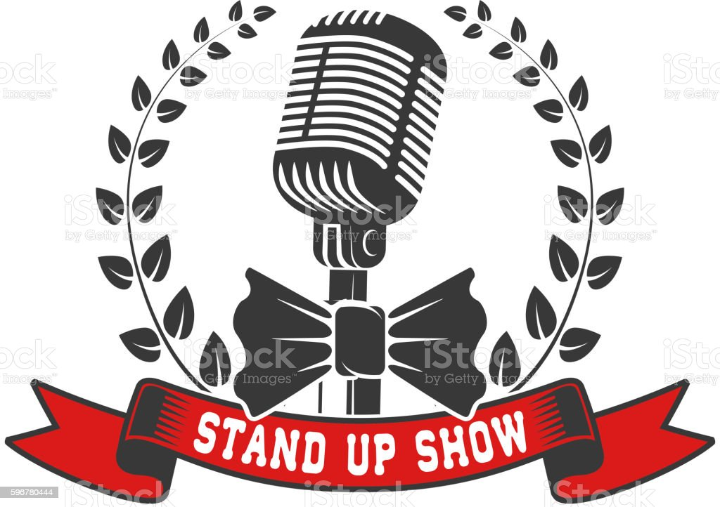 stand up show emblem template. Old style microphone with laurel vector art illustration
