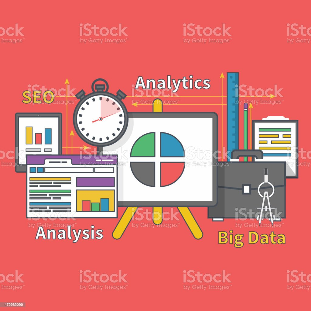 Stand with Charts and Parameters. Big Data Seo vector art illustration