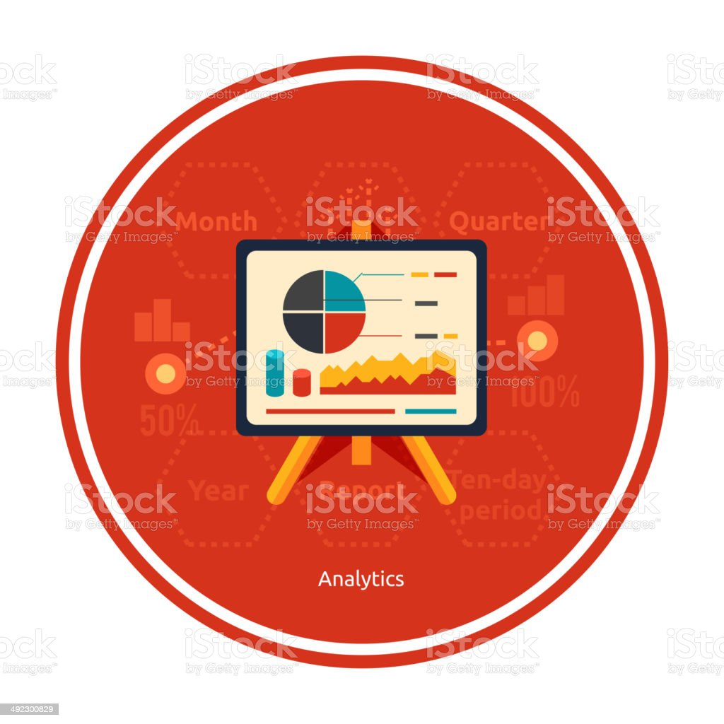 Stand with charts and parameters vector art illustration