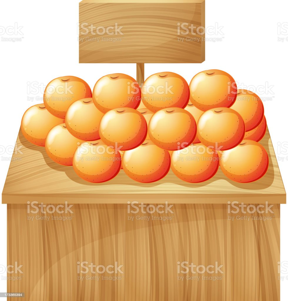 stand with fruits and an empty signboard royalty-free stock vector art