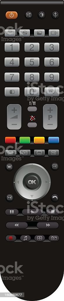 A standard remote control with various buttons vector art illustration