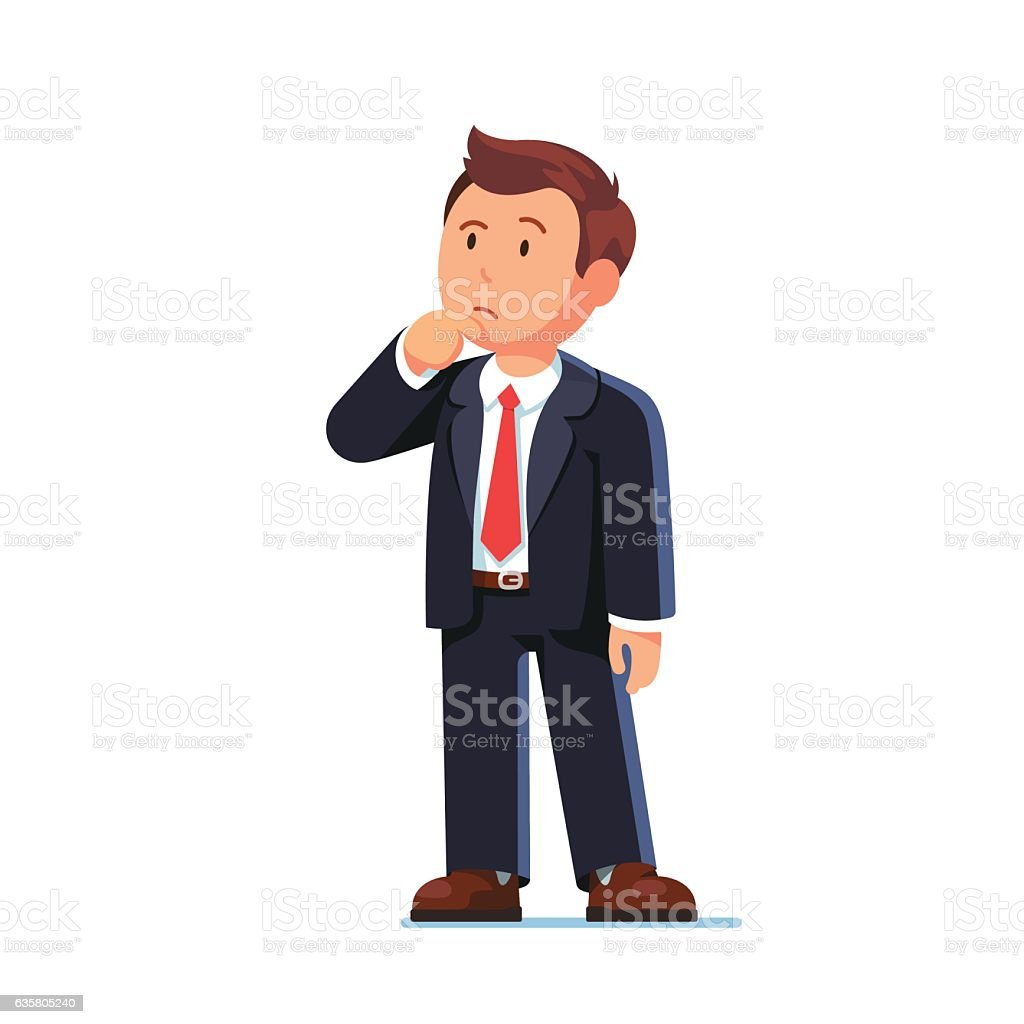 Standing business man making thinking gesture vector art illustration