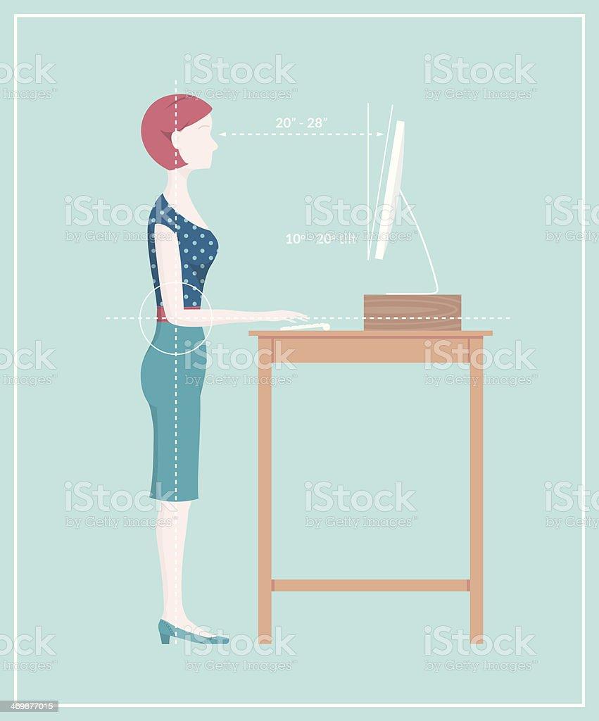Standing Desk Posture vector art illustration