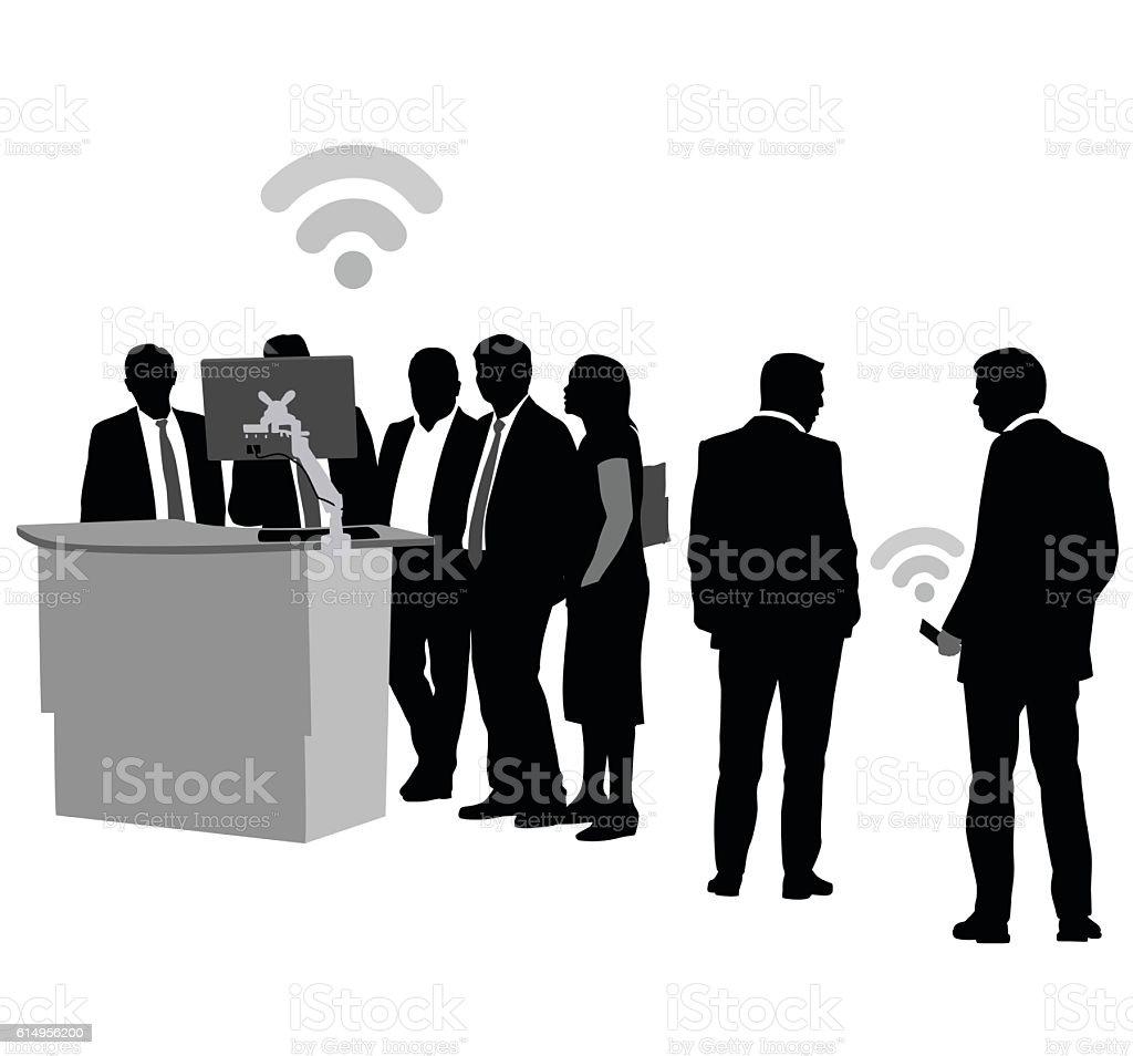 Standing Desks Building Connections vector art illustration
