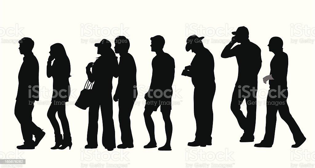 Standing In Line Vector Silhouette vector art illustration