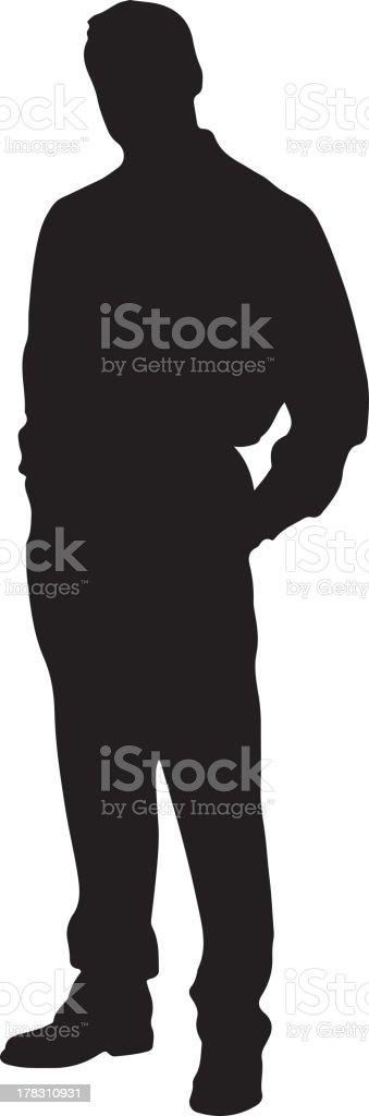 Standing man silhouette vector art illustration