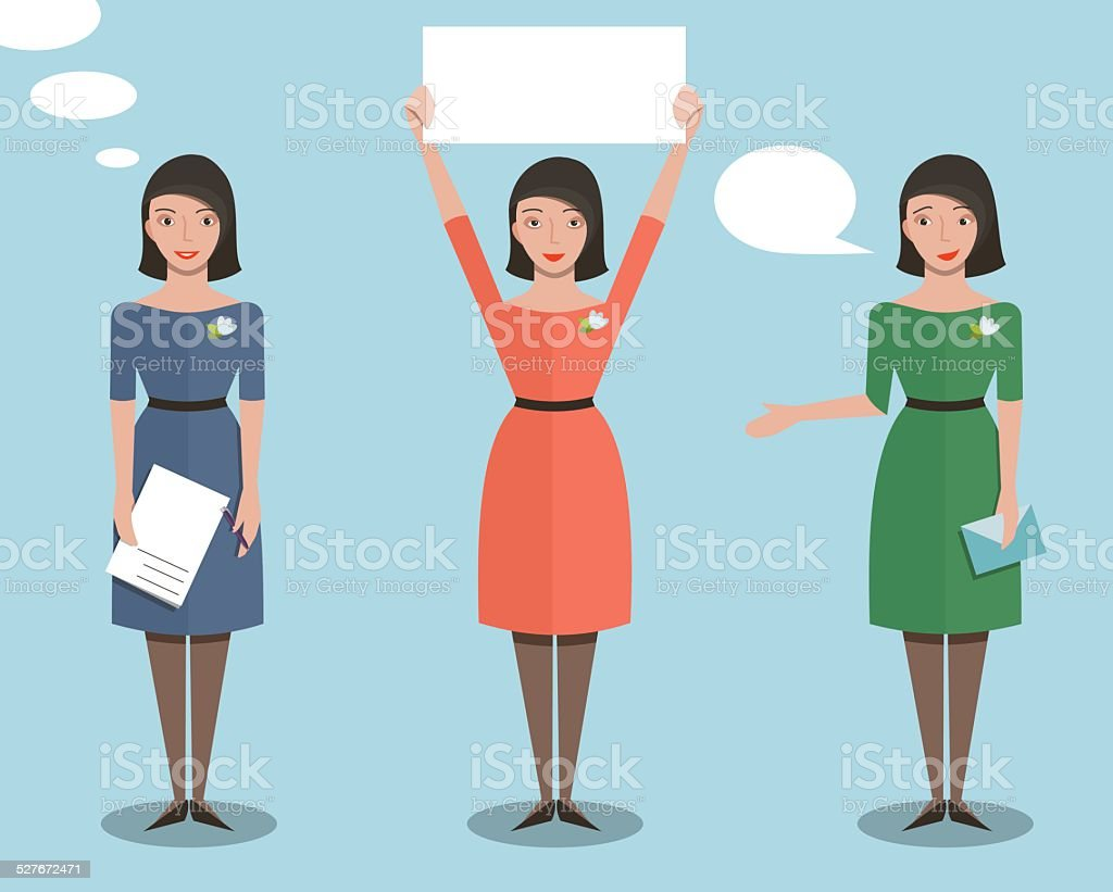 Standing Office Manager Woman Talking and Showing vector art illustration