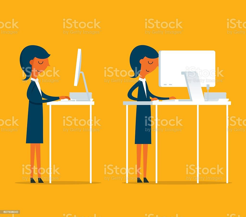 Standing Office vector art illustration