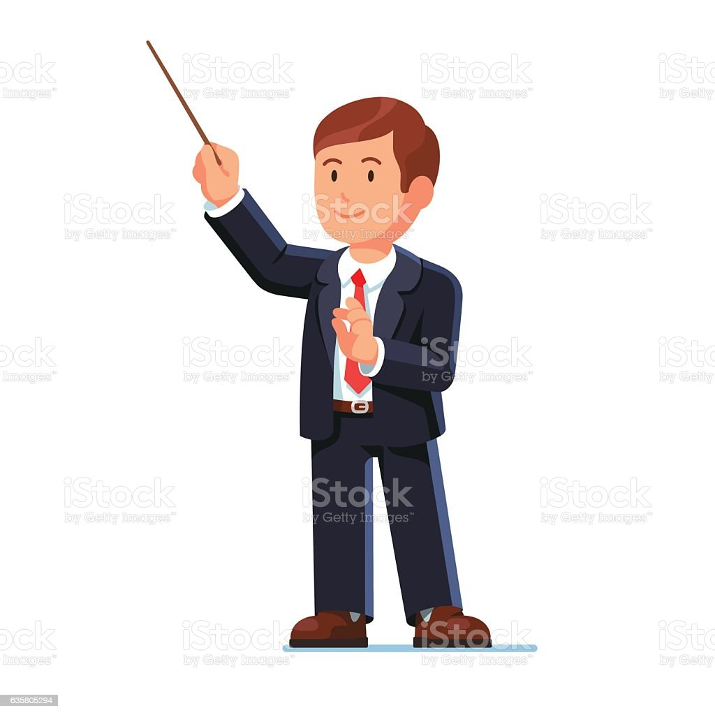 Standing orchestra conductor directing vector art illustration