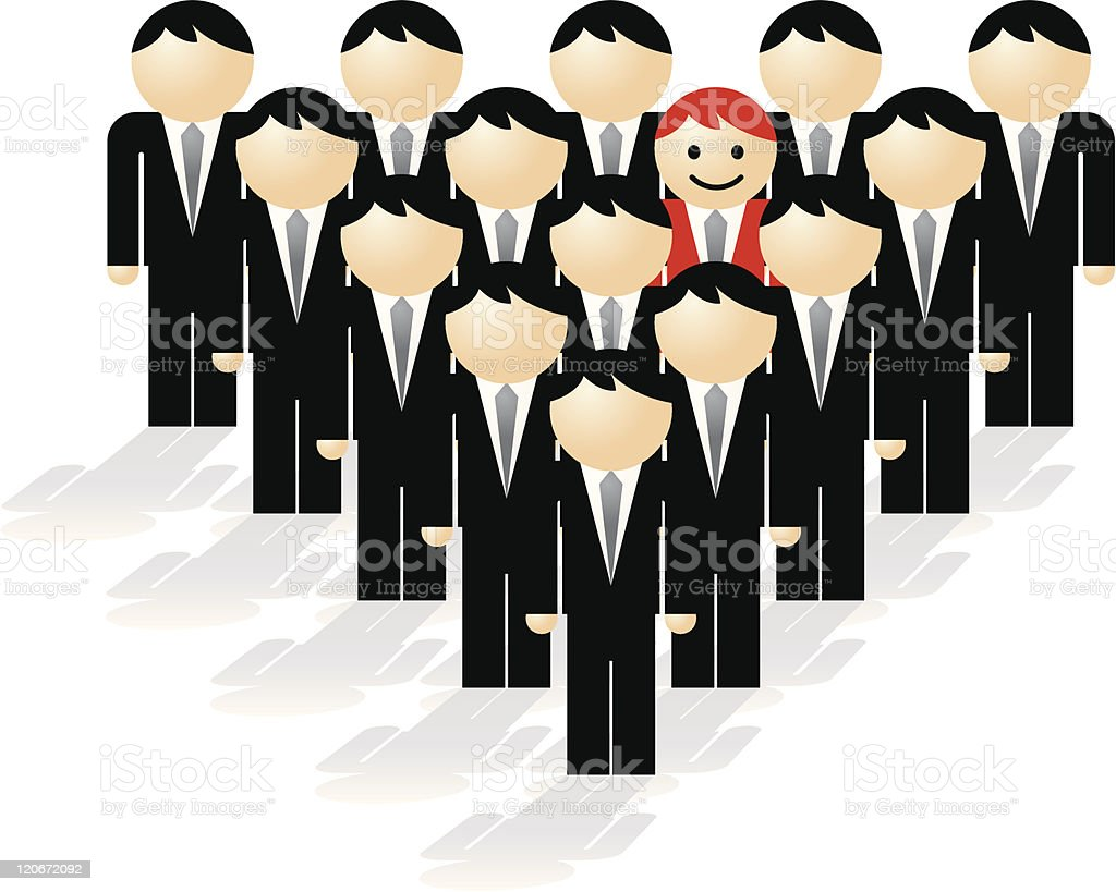 Standing Out from the Crowd royalty-free stock vector art