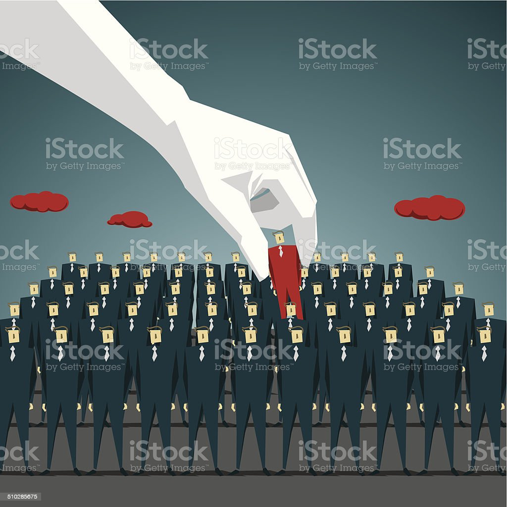Standing Out From The Crowd vector art illustration