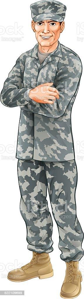 Standing soldier vector art illustration