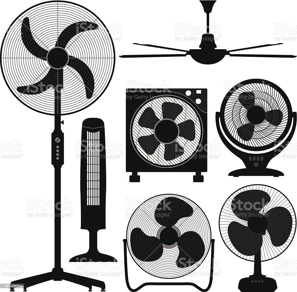 Standing Table Ceiling Fan Design vector art illustration