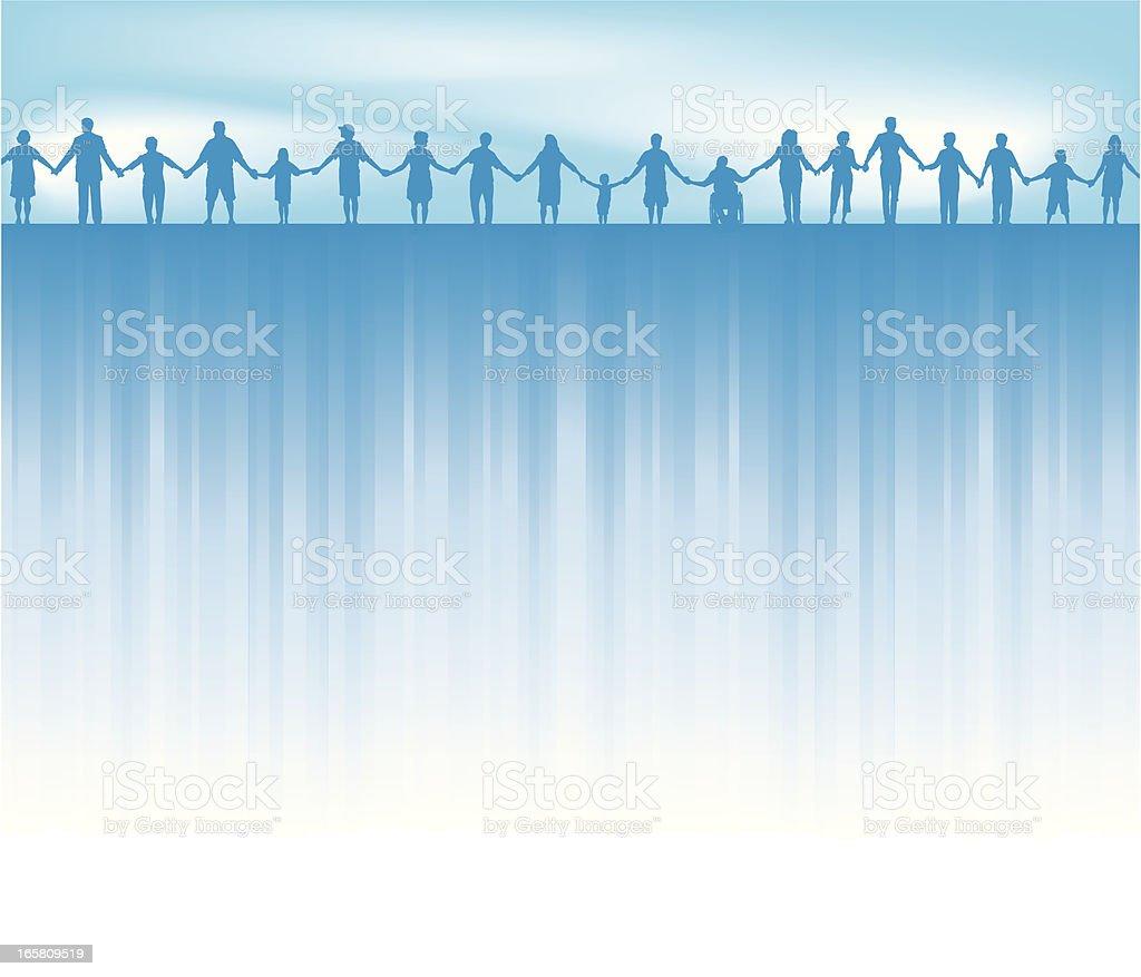 Standing Together - United Background vector art illustration