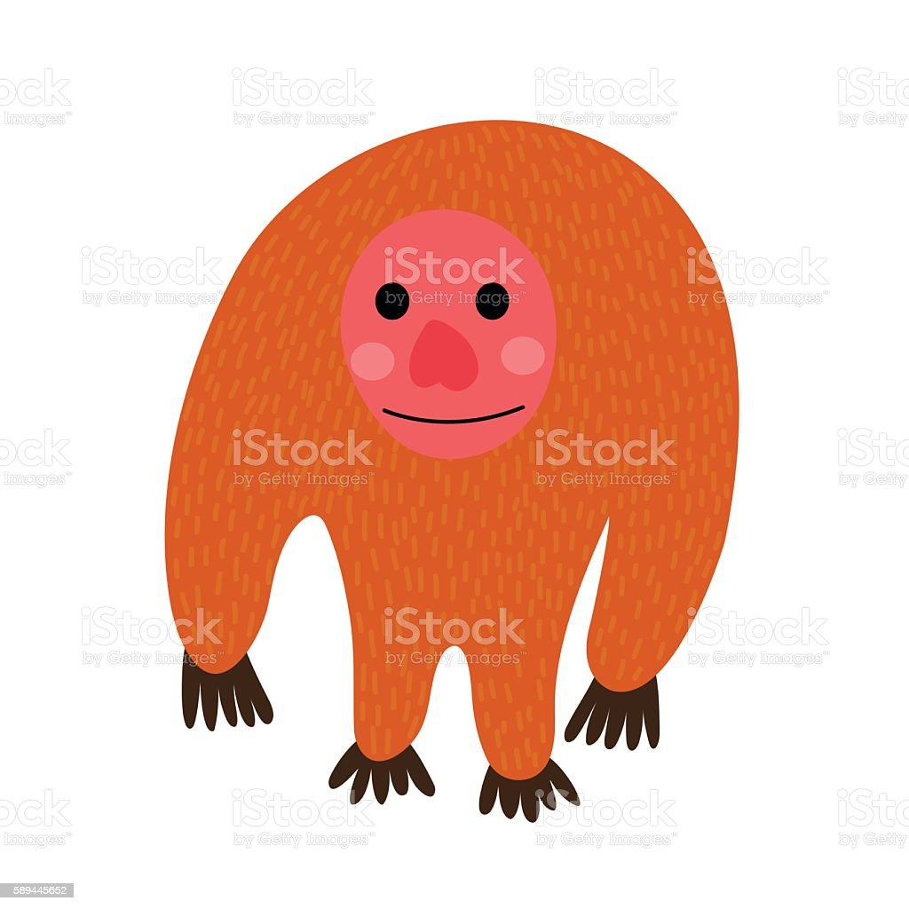 Standing Uakari animal cartoon character vector illustration. vector art illustration