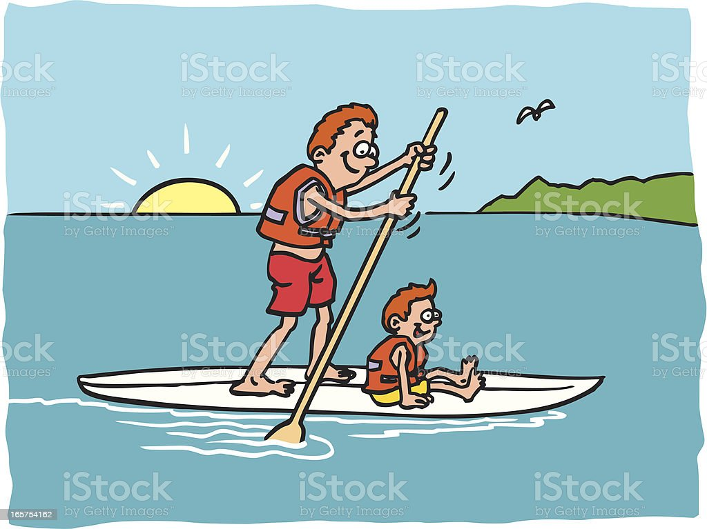 Standing up paddling royalty-free stock vector art
