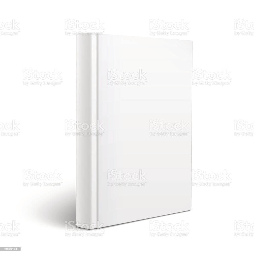 Standing white book on a blank background vector art illustration