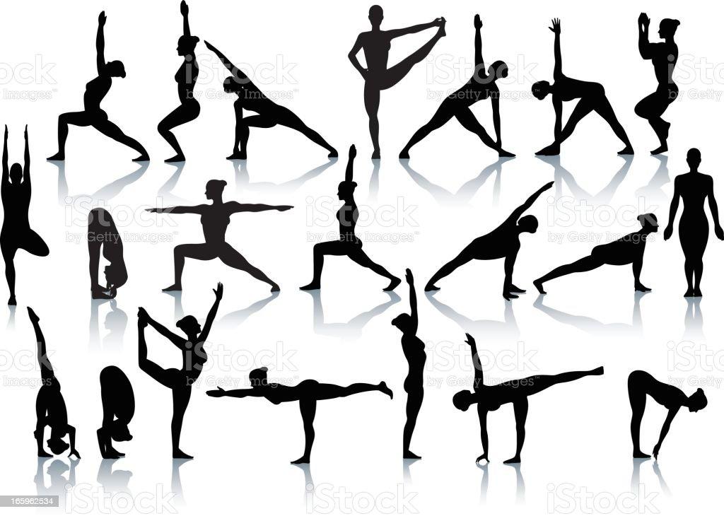 Standing yoga position silhouettes vector art illustration