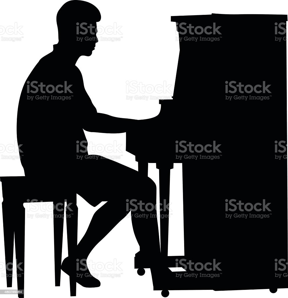 Standup Piano Player vector art illustration