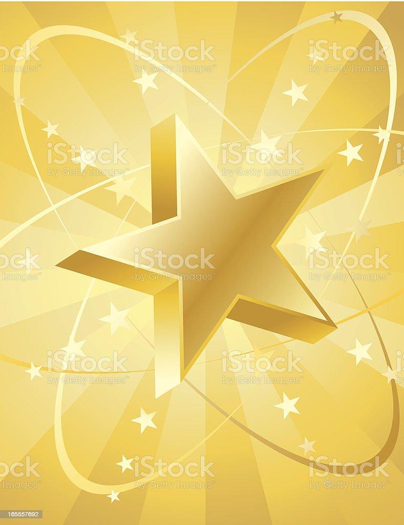 Star 3D Gold Radiation royalty-free stock vector art